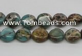 CSE5008 15.5 inches 10mm flat round natural sea sediment jasper beads
