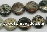 CSE5009 15.5 inches 16mm flat round natural sea sediment jasper beads