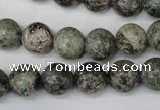 CSI15 15.5 inches 12mm round silver scale stone beads wholesale