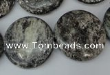 CSI29 15.5 inches 25mm flat round silver scale stone beads wholesale
