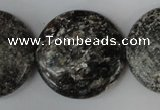 CSI30 15.5 inches 30mm flat round silver scale stone beads wholesale