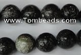 CSI75 15.5 inches 14mm round silver scale stone beads wholesale