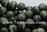 CSJ04 15.5 inches 10mm round green silver line jasper beads wholesale