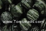 CSJ06 15.5 inches 14mm round green silver line jasper beads wholesale