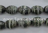 CSJ100 15.5 inches 10*14mm rice green silver line jasper beads