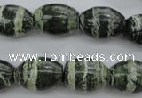CSJ102 15.5 inches 13*18mm rice green silver line jasper beads