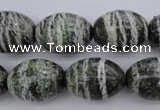 CSJ103 15.5 inches 15*20mm rice green silver line jasper beads