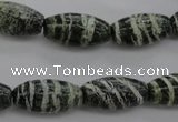 CSJ105 15.5 inches 10*20mm rice green silver line jasper beads