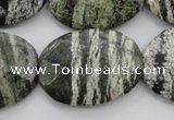 CSJ114 15.5 inches 22*30mm faceted oval green silver line jasper beads