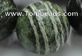 CSJ12 15.5 inches 30mm round green silver line jasper beads wholesale