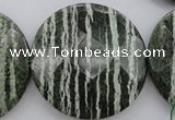 CSJ126 15.5 inches 50mm faceted coin green silver line jasper beads