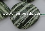 CSJ128 15.5 inches 30*38mm faceted freeform green silver line jasper beads