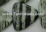 CSJ130 15.5 inches 30*30mm faceted triangle green silver line jasper beads