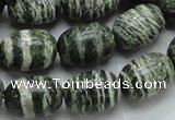 CSJ16 15.5 inches 13*18mm egg-shaped green silver line jasper beads