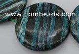 CSJ221 15.5 inches 50mm flat round dyed green silver line jasper beads