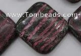 CSJ280 15.5 inches 30*30mm diamond dyed green silver line jasper beads