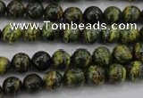 CSJ292 15.5 inches 8mm round dyed green silver line jasper beads