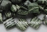 CSJ30 15.5 inches 12*12mm diamond green silver line jasper beads
