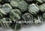 CSJ43 15.5 inches 15mm flat round green silver line jasper beads