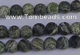 CSJ501 15.5 inches 6mm round matte green silver line jasper beads