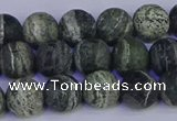 CSJ502 15.5 inches 8mm round matte green silver line jasper beads
