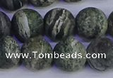 CSJ505 15.5 inches 14mm round matte green silver line jasper beads