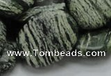 CSJ55 15.5 inches 22*30mm oval green silver line jasper beads