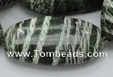 CSJ59 15.5 inches 25*50mm oval green silver line jasper beads