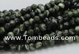 CSJ62 15.5 inches 4mm faceted round green silver line jasper beads