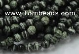 CSJ63 15.5 inches 6mm faceted round green silver line jasper beads