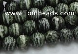 CSJ65 15.5 inches 10mm faceted round green silver line jasper beads
