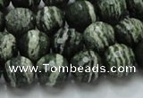 CSJ66 15.5 inches 12mm faceted round green silver line jasper beads