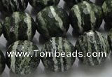 CSJ68 15.5 inches 16mm faceted round green silver line jasper beads