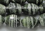 CSJ74 15.5 inches 15*20mm faceted rice green silver line jasper beads