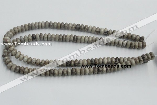 CSL02 15.5 inches 5*10mm rondelle silver leaf jasper beads wholesale