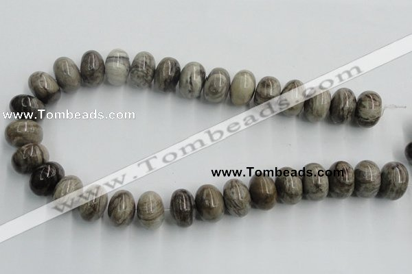 CSL04 15.5 inches 12*20mm rondelle silver leaf jasper beads wholesale