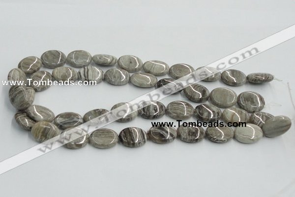 CSL05 15.5 inches 15*20mm oval silver leaf jasper beads wholesale