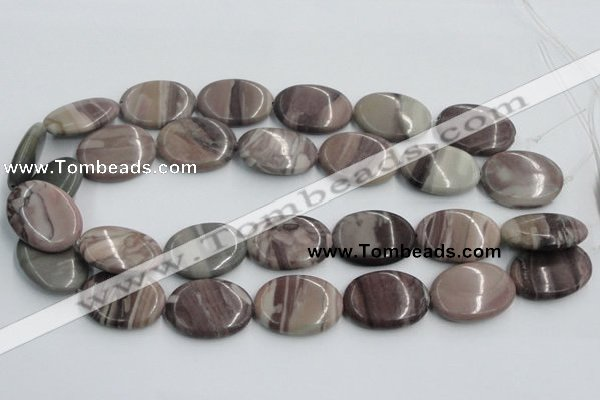 CSL07 15.5 inches 20*30mm oval silver leaf jasper beads wholesale