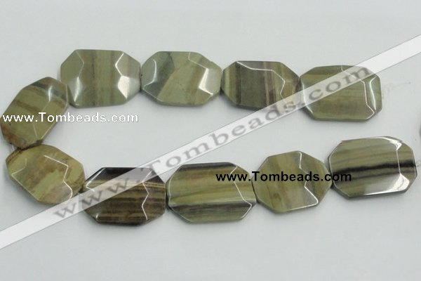 CSL08 15.5 inches 30*40mm octagonal silver leaf jasper beads wholesale