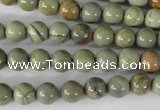 CSL102 15.5 inches 8mm round silver leaf jasper beads wholesale