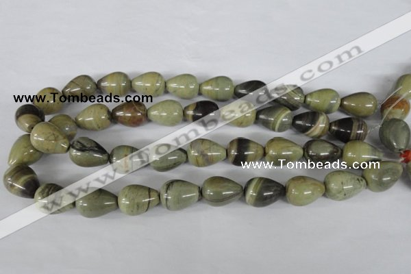 CSL105 15.5 inches 15*20mm teardrop silver leaf jasper beads wholesale