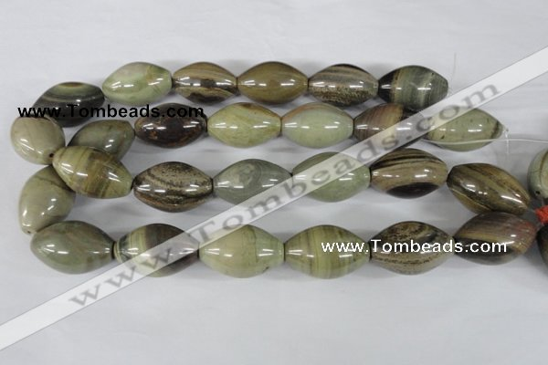 CSL106 15.5 inches 22*30mm rice silver leaf jasper beads wholesale