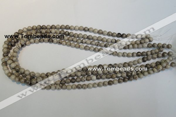 CSL11 15.5 inches 6mm round silver leaf jasper beads wholesale