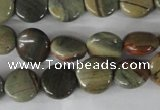 CSL115 15.5 inches 12mm flat round silver leaf jasper beads wholesale