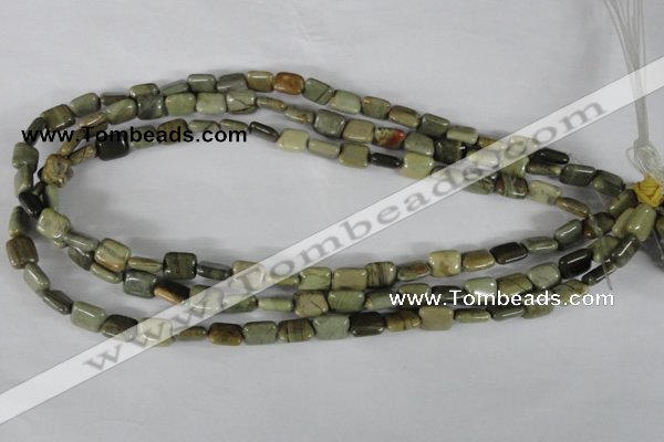 CSL119 15.5 inches 8*10mm rectangle silver leaf jasper beads wholesale