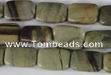 CSL120 15.5 inches 13*18mm rectangle silver leaf jasper beads wholesale