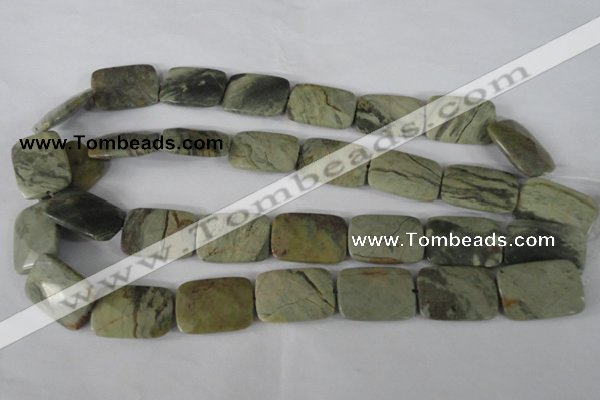 CSL121 15.5 inches 18*25mm faceted rectangle silver leaf jasper beads