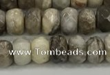 CSL131 15.5 inches 4*6mm faceted rondelle sliver leaf jasper beads