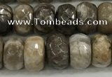 CSL132 15.5 inches 5*8mm faceted rondelle sliver leaf jasper beads