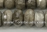 CSL133 15.5 inches 6*10mm faceted rondelle sliver leaf jasper beads